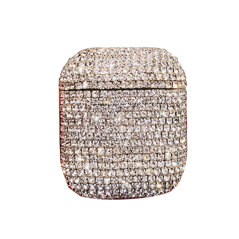 Charging Anti Lost Gift Rhinestone Inlay Durable Hard Full Cover Protective Case Bling Practical Wireless For Apple Earphone