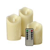 3Pcs Moving Wick Flameless Flickering Candles with Timer Remote Control LED Candles   -