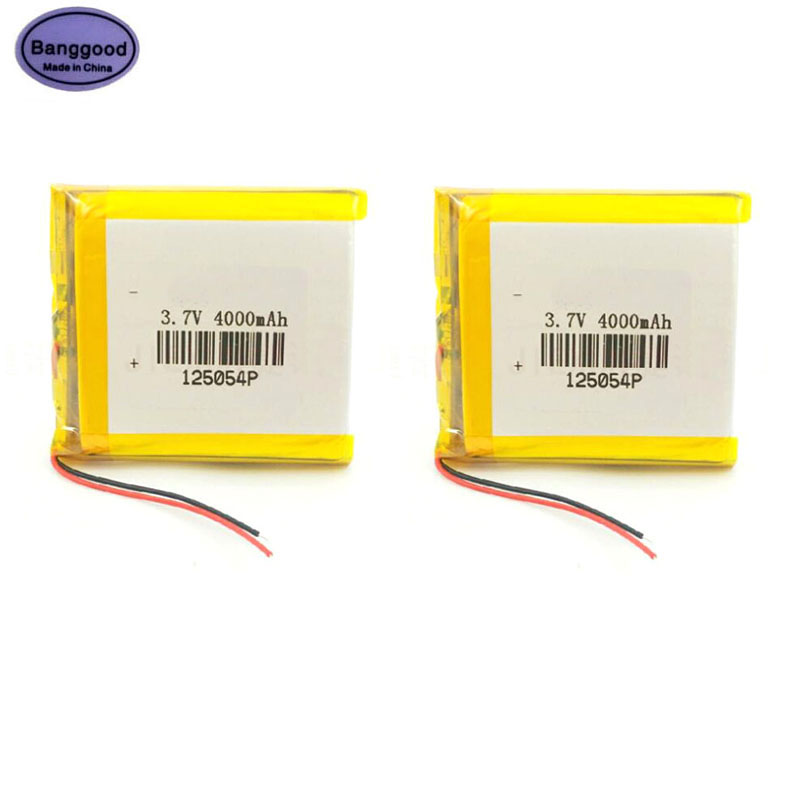 Lot 2PCS 3.7V 4000mAh <font><b>125054</b></font> Lipo Polymer Lithium Rechargeable Li-ion Battery For Smart Phone MP3 Navigation Instruments Toys image