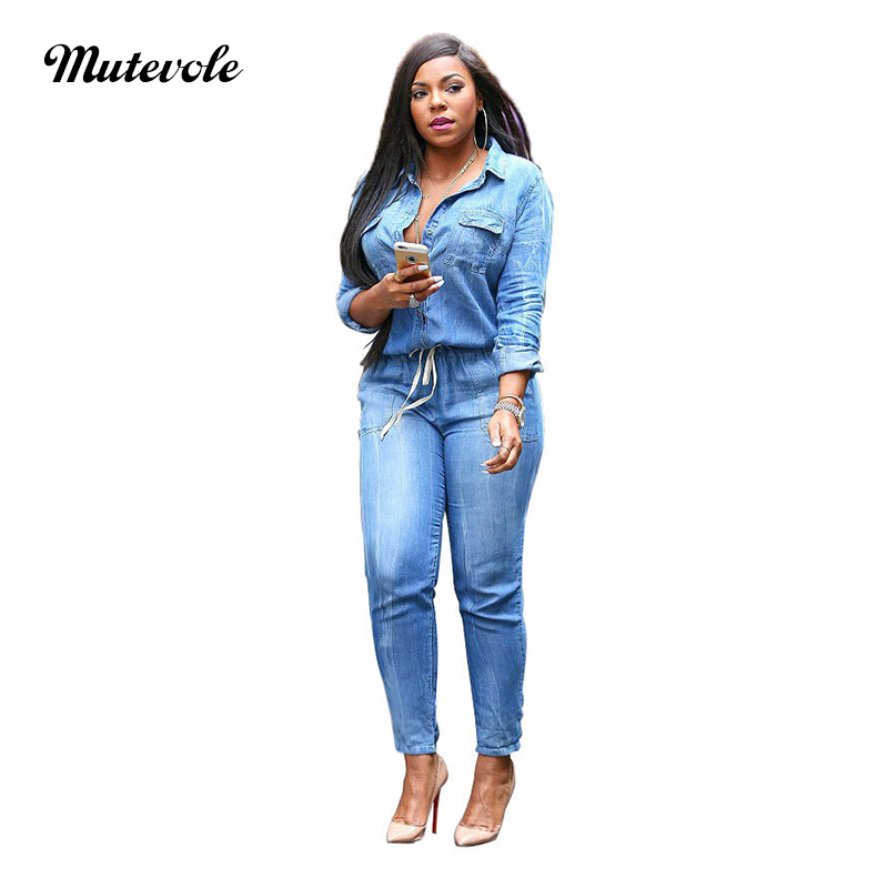 Mutevole Plus Size Autumn Drawstring Denim Jumpsuit Women Long Sleeve Bodycon Jeans Overalls Turn Down Collar Button Jumpsuit