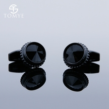TOMYE Matte Black Round Custom Mens Unique Novelty Cufflinks for Shirt XK19S121