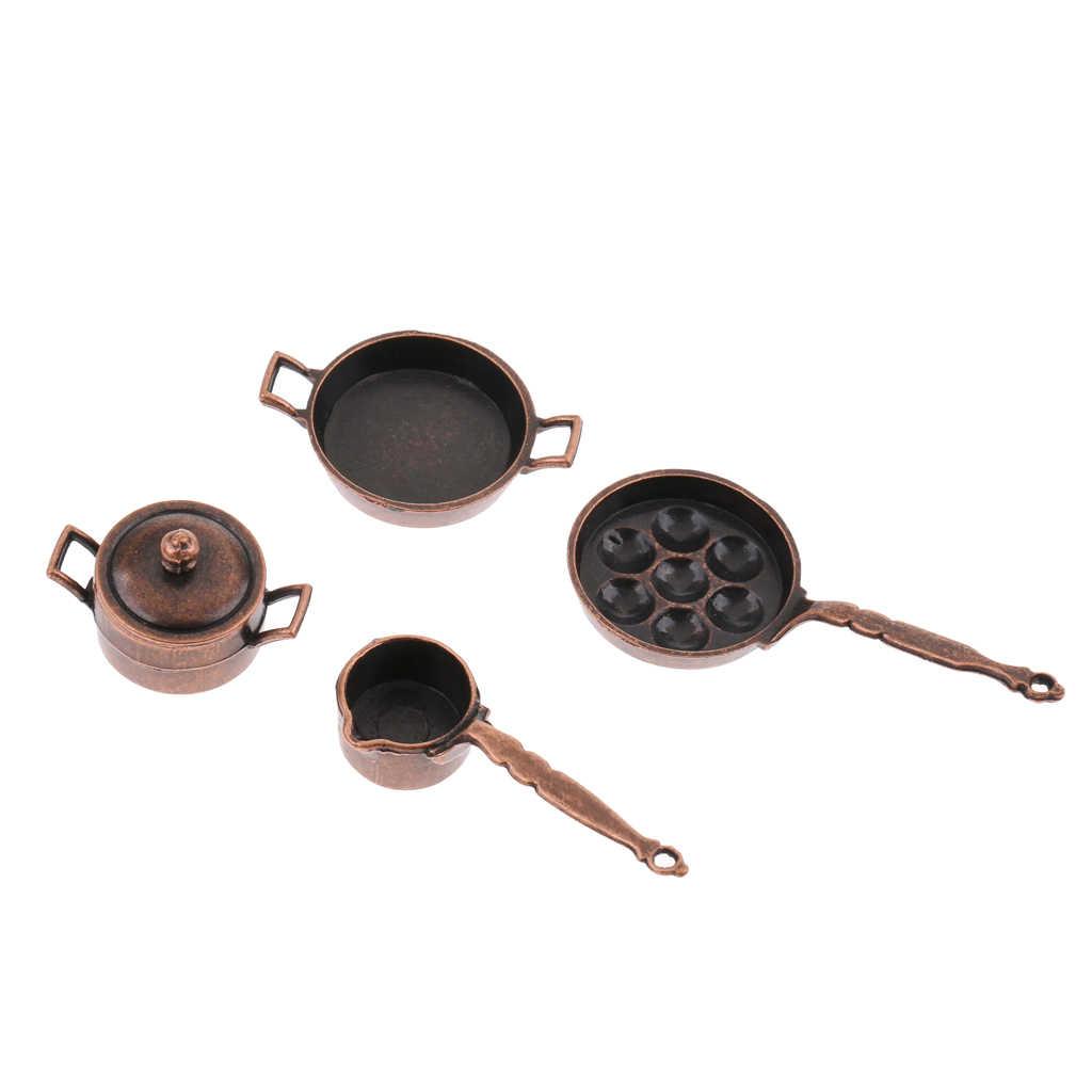 Juego de 5 piezas Vintage de utensilios de cocina en miniatura, ollas de aleación para casa de muñecas 1/12, accesorios de Decoración de cocina