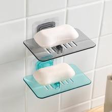 Caja de jabón de cristal creativa para baño, caja de jabón con perforación gratuita para baño, inodoro, taza de succión sin costuras, caja de jabón con drenaje, jabonera
