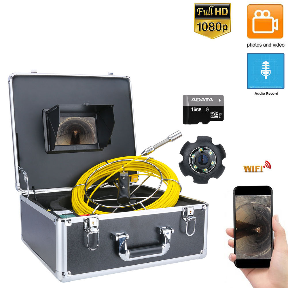 7inch DVR 20M Drain Sewer Pipeline Industrial Endoscope Pipe Inspection Video Camera with DVR Video recording / WIFI wireless