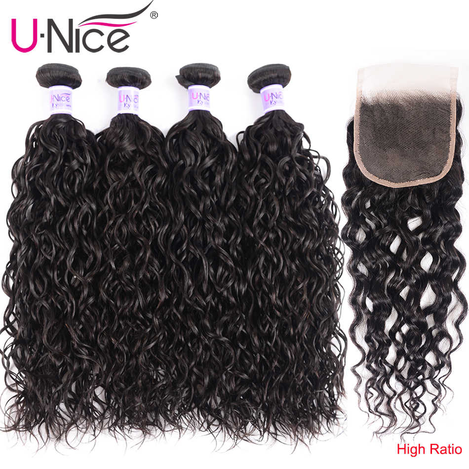 UNice Hair Kysiss Series 8A Brazilian hair Water Wave Virgin hair Extension 8-26 inch 100% human hair 4 Bundles With Closure