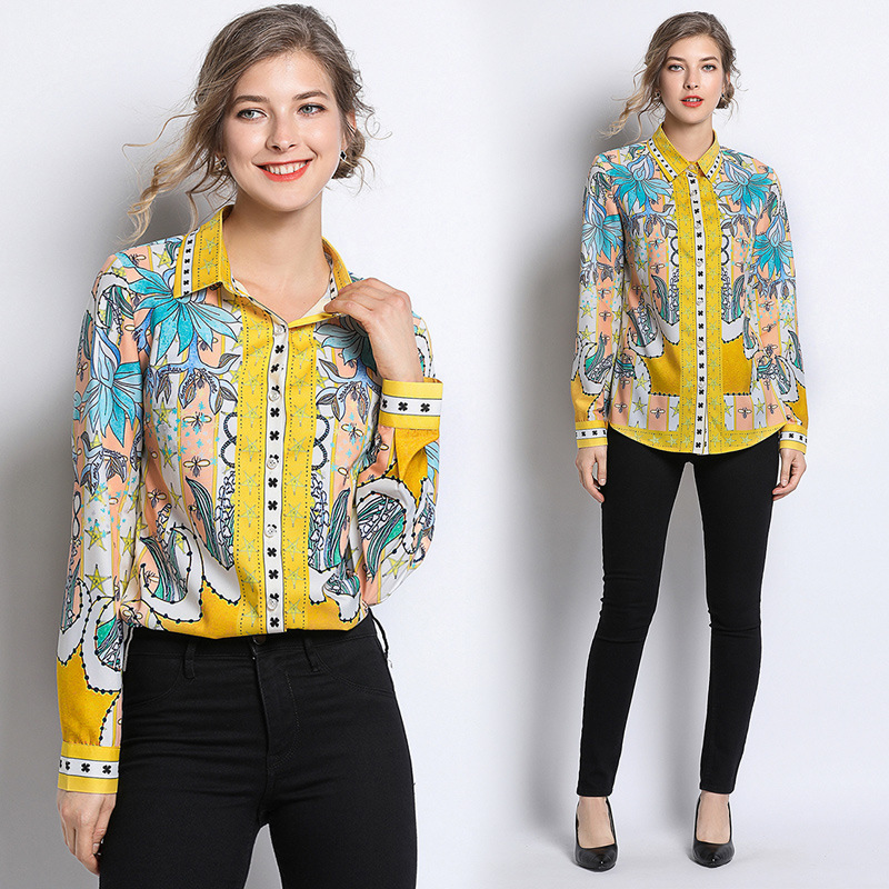 Autumn and winter European and American temperament new Blouses Trendy personality lapel printed long-sleeved shirt women tops