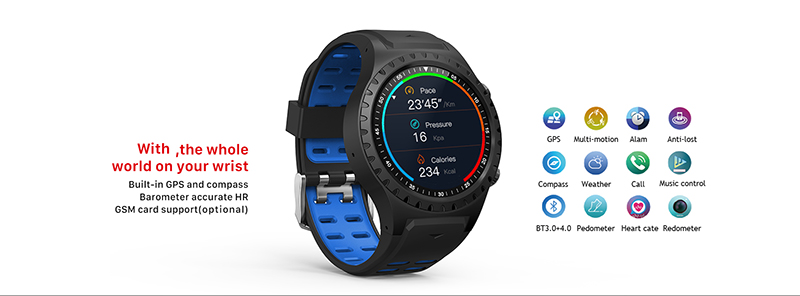 North Edge Montre GPS Multi Sports et OCG Bluetooth ; Compass, Altitude, fréquence cardiaque