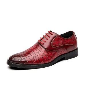 Image 2 - Męskie buty sukienka Gentleman Business Paty skórzane buty ślubne płaskie buty męskie skórzane oksfordzie formalne buty