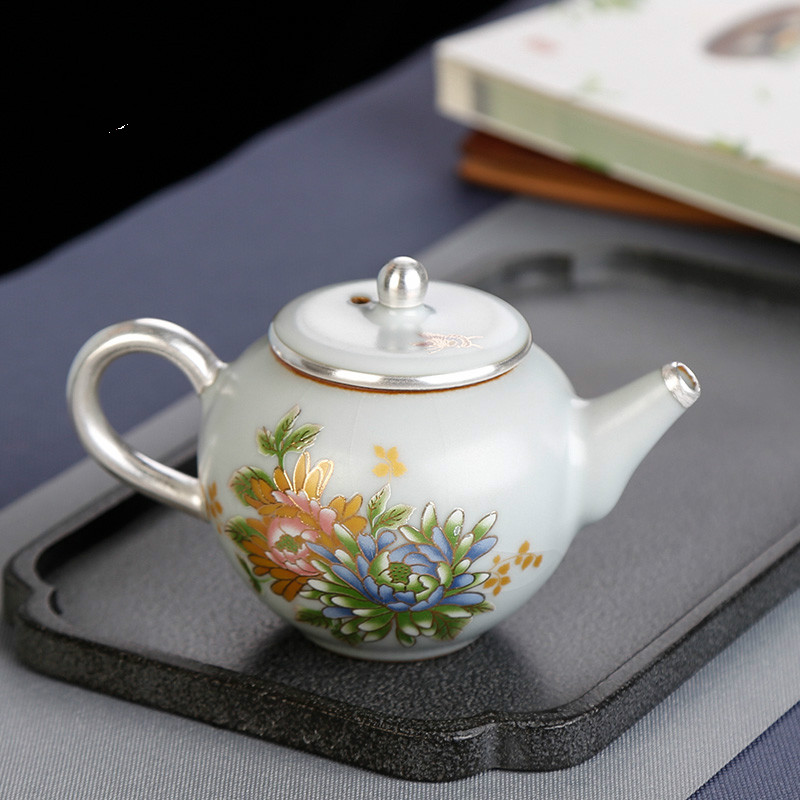 Ev ve Bahçe'ten Çaydanlıklar'de Seramik gümüş çaydanlık trompet retro el yapımı ev evli kırmızı çay makinesi çay seti tek pot seramik çay title=