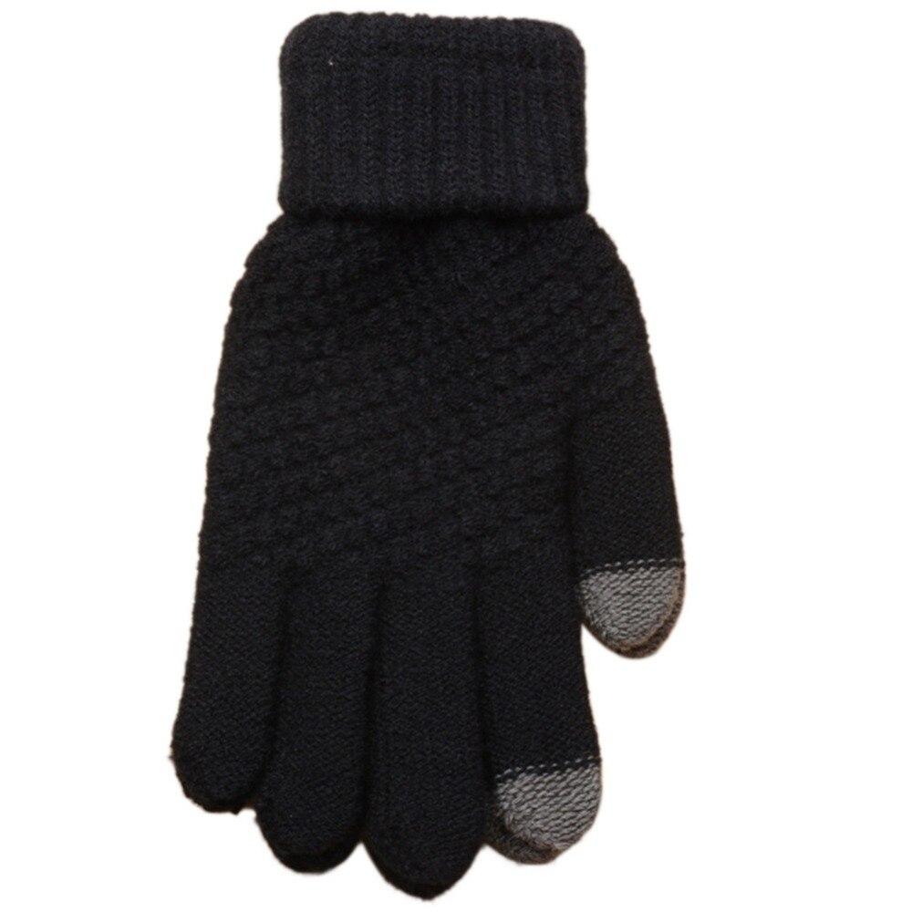2019 Winter Touch Screen Gloves For Women Men Warm Stretch knitted Mittens Imitation Wool Full Finger Black White Gloves