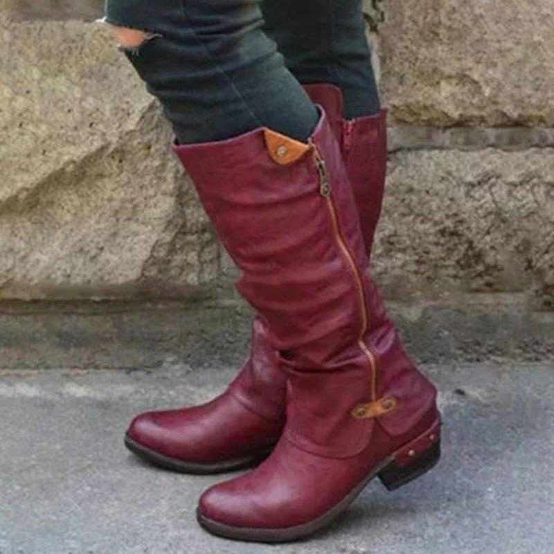 Dropshipping ฤดูหนาว PU หนังเข่าบู๊ทส์รองเท้าบูท Snow BOOTS รองเท้าส้นสูงด้านซิปรองเท้าผู้หญิงขนาดใหญ่รองเท้า