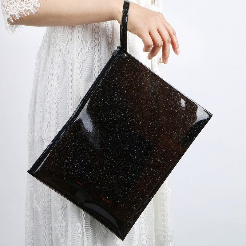 Wholesale Black A4 Size Sequin Shining PVC Jelly Ziplock Cosmetic Bag Treval Envelope Bag