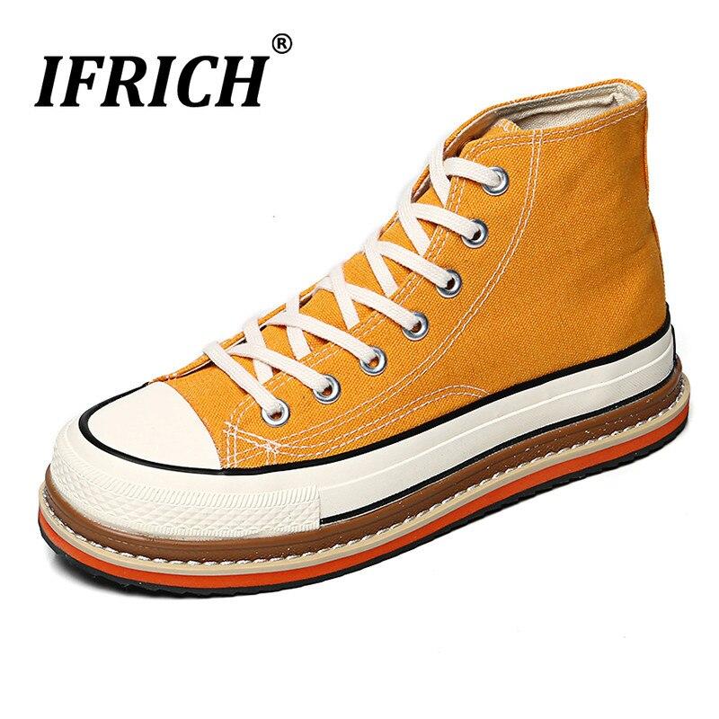 Toile de luxe hommes marche chaussures haut jeune garçon chaussures décontractées jaune hommes toile baskets à semelles décontracté toile chaussures