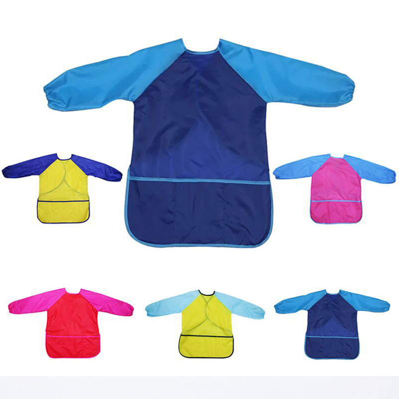 Art Aprons Learning Education Interesting Toys Waterproof Painting Apron Portable Birthday Gift Kids Children Smock Long Sleeve