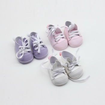 Mini Toy Shoes Fit for 18 Inch American Dolls One Pairs 7cm High Quality Doll Sneackers for 43CM Reborn New Baby Doll mini dolls shoes cartoon cat shoes 7cm pu leather shoes for 43cm doll 18 inch americian doll giant baby accessories girl gift
