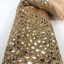 NEW High Quality 2020 Tulle sequins Beaded French Nigerian Lace Fabrics Pearls Embroidered