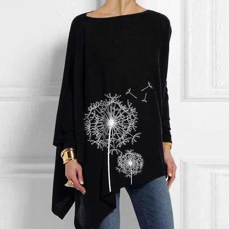 Повседневная Женская туника с цветочным принтом, с круглым вырезом и длинным рукавом, однотонная Черная Женская блузка, винтажная блузка ра...