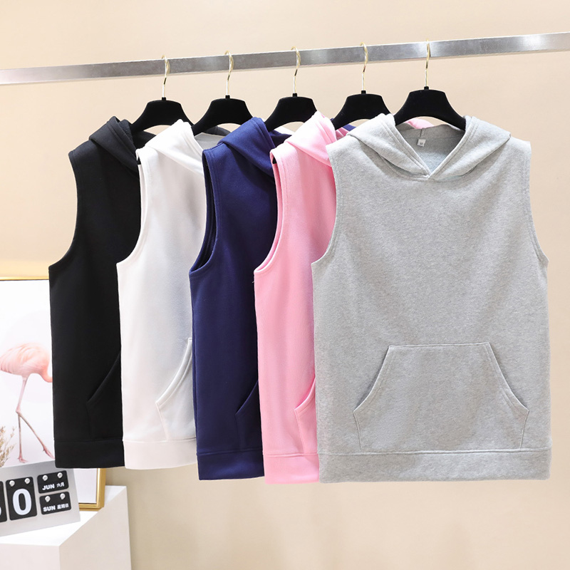 Fashion Men Women Solid Color Hoodies Sweatshirts Casual Hip Hop Hooded Pullover Sleeveless Sport Homme Harajuku Hoodie Tops 4XL