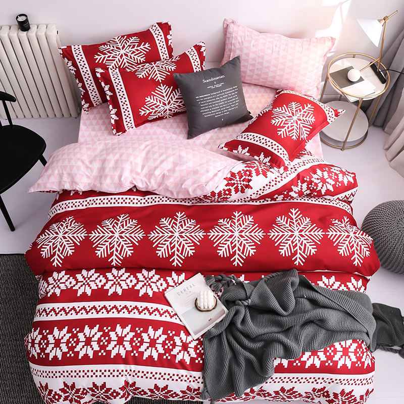 Classic Red Christmas Snowflake Bedding Set Unicorn Bed Linen Duvet Cover Flat Sheet Pillowcase Sets Queen King Twin Full Size