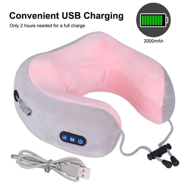 U Shaped Massage Electric Pillow Multi Function Shoulder and Cervical Vertebra Relieve Fatigue Outdoor Portable Car