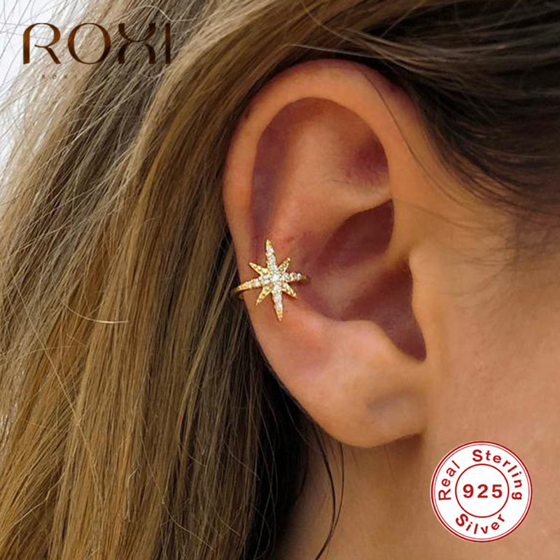 ROXI Fashion Star Ear Cuff Non Pierced Micro Pave CZ Zircon Small Sized Girl Clip Earring For Women 925 Sterling Silver Jewelry