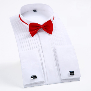 France Cufflinks Mens Tuxedo Shirts Long Sleeve Bow Tie Formal Social Dress Shirts for Men White Black Red S~5XL Quality NEW
