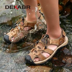 Image 5 - DEKABR חדש זכר נעלי עור אמיתי גברים סנדלי קיץ גברים נעלי חוף סנדלי איש אופנה חיצוני מקרית סניקרס גודל 48