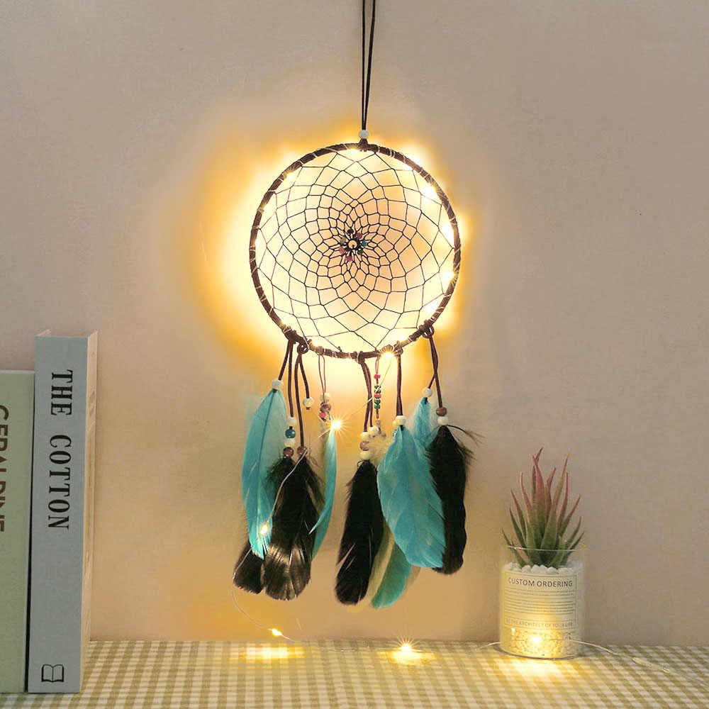 Dream Catcher Lampu Led Romantis Diy Lampu Gantung Bulu Renda Untuk Gadis Kamar Tidur Dinding Dekorasi Hadiah D40 Liburan Pencahayaan Aliexpress