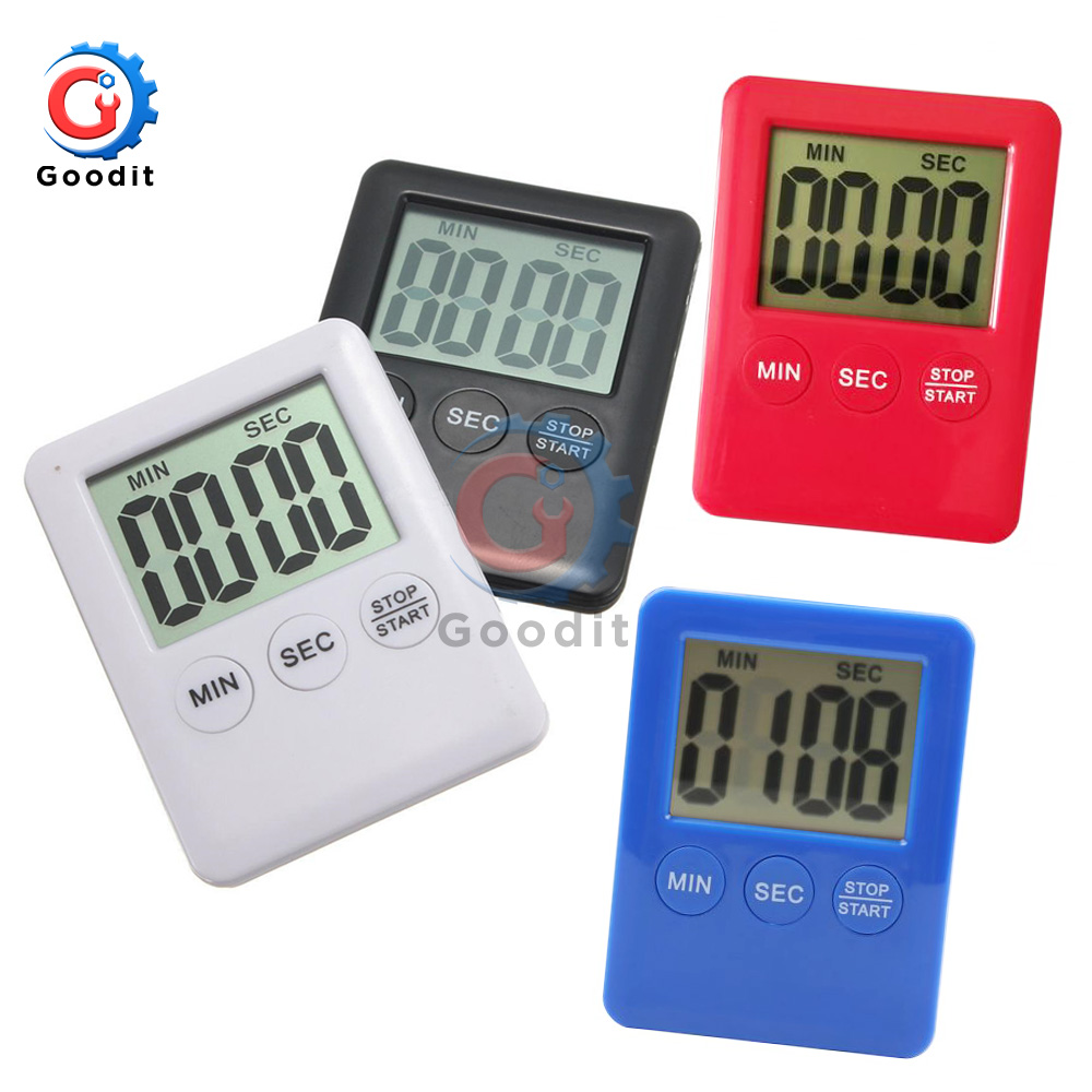 Super Thin Large LCD Digital Screen Kitchen Timer Square Cooking Count Up Countdown Alarm Magnet Clock Temporizador Magnetic