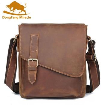 Brand Man Shoulder Bags Vintage Genuine Leather Men Travel Mobile Ipad Crossbody Messenger Casual Bag Male Bags