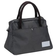 лучшая цена Women Oxford Shoulder Bag Simple Female Black Thin Striped Handbag Soft Medium Size Messenger Bag for Ladies Food Picnic Bags