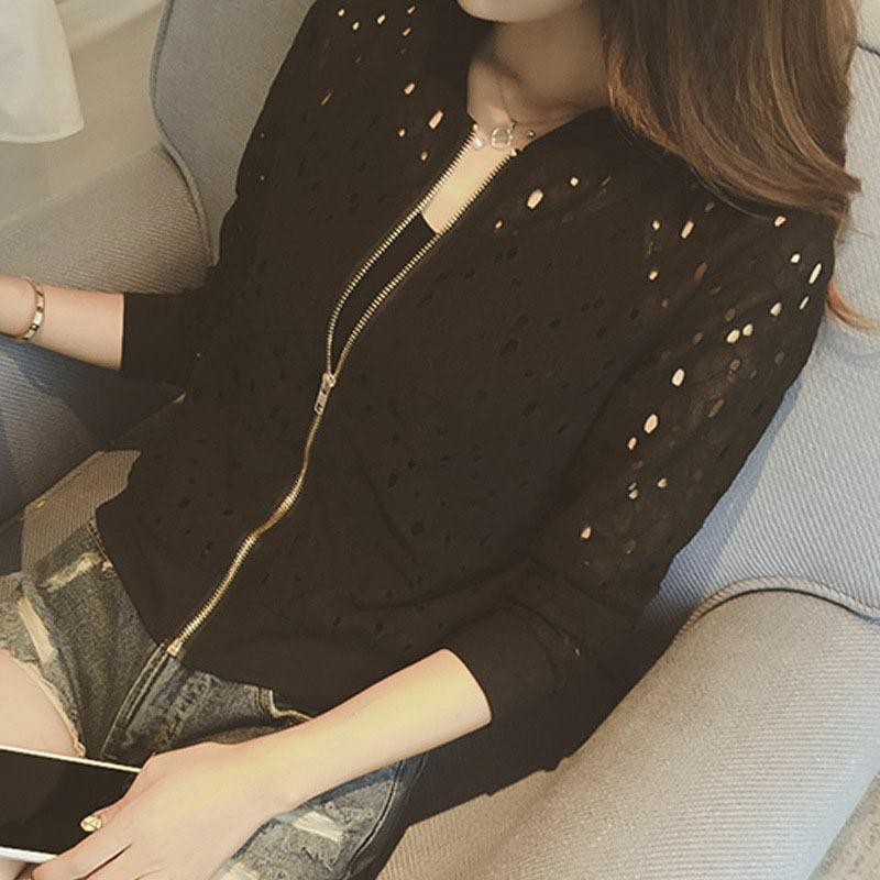 Summer Women Bomber Jacket Lace Sunscreen Shirt Short Thin Coat Cardigan Top HOT in Jackets from Women 39 s Clothing