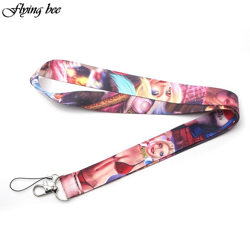 20pcs/lot Women Horror Sexy Phone Holder Key Lanyard ID Badge Holders Neck Straps With Keyring Phone Rope Keychain X0069