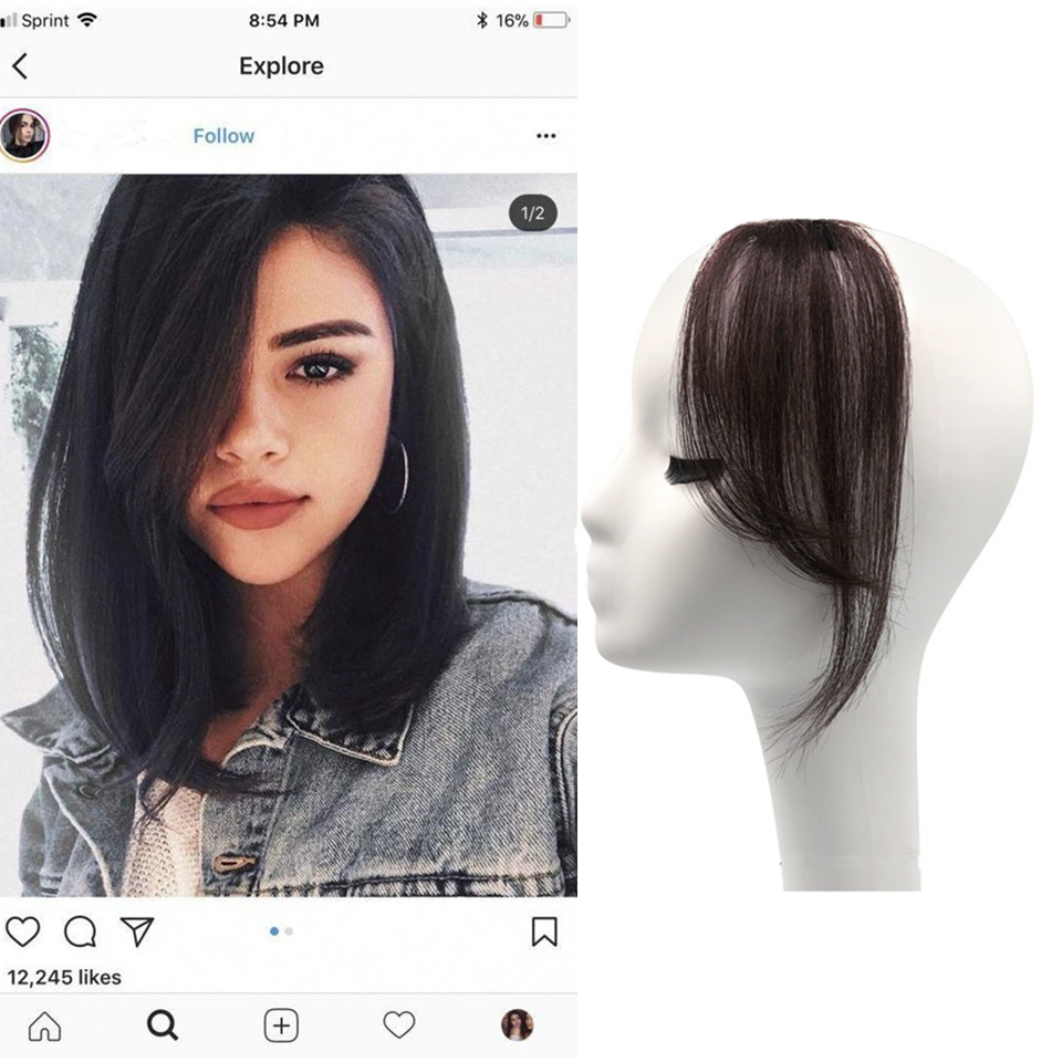 grampo longo na franja cabelo humano franja