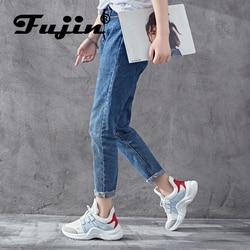 Fujin/женские кроссовки; коллекция 2020 года; повседневная обувь с дышащей сеткой; женские модные кроссовки на шнуровке; высокая женская обувь д...