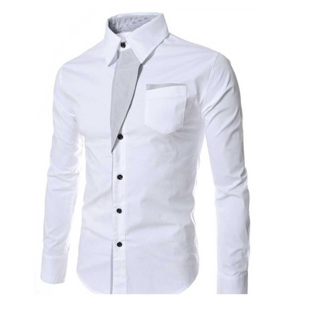 2019 Mannen Mode Casual Dress Shirt Mannen Met Lange Mouwen Gestreept Contrast Revers Button Shirt Business Casual Slanke Vest Top stolsel