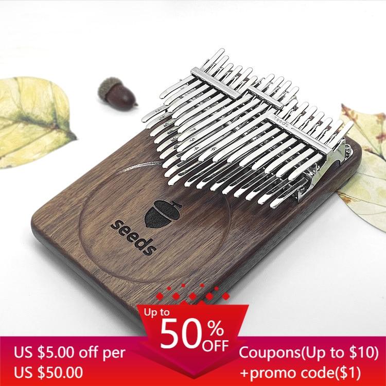 Ксилофон kalimba для начинающих, семена рыб, 34 клавиши, черный орех, акации, двухслойный, пальцы большого пальца, фортепиано, музыкальный инстру...