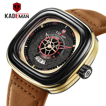 2020 Luxury Men Watches New Fashion Square Quartz Watch TOP Brand KADEMAN Casual Leather Wristwatches Business Relogio Masculino baogela men fashion casual quartz watch male casual leather band wristwatches waterproof watches relogio masculino