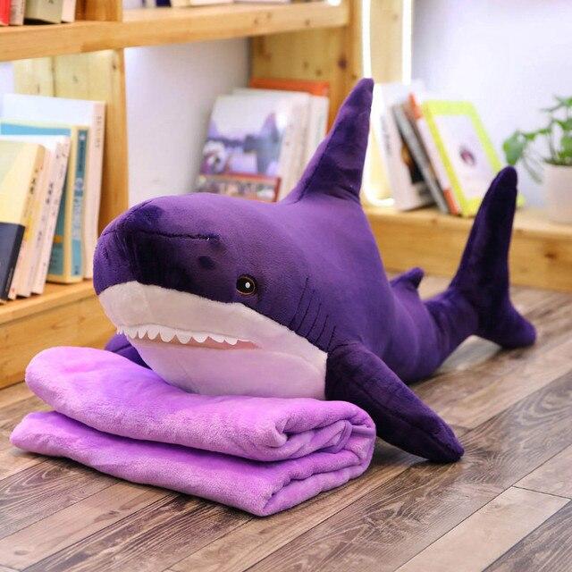 60-140cm duży pluszowy rekin z rosji Shark pluszowe zabawki wypchane lalki miękka poduszka ze zwierzątkiem dla dzieci zabawki dla dzieci na prezent urodzinowy dla niej
