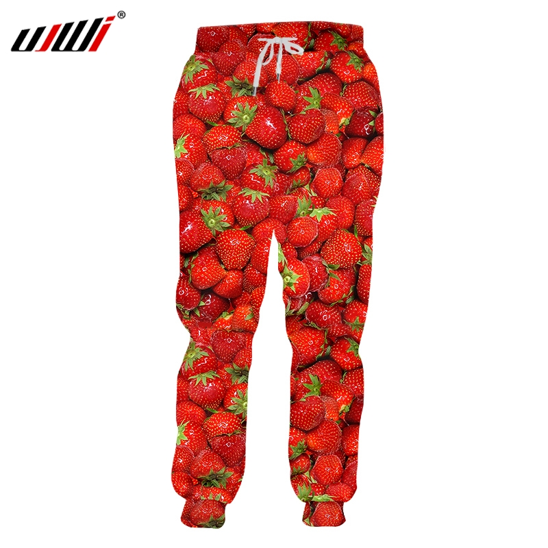 UJWI New Fashoin Fruit 3D Print Style Pants Men/Women Casual Pants Fruit Pants Strawberry Brand Leisure Funny Clothing