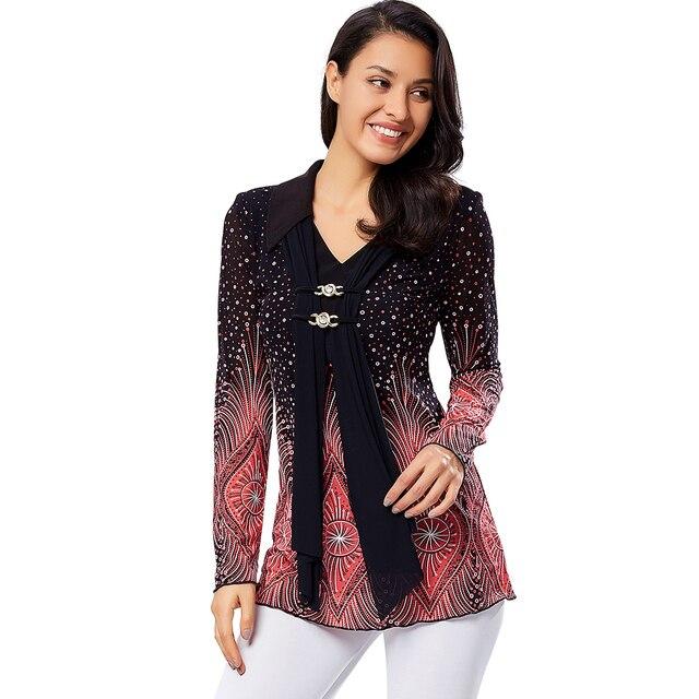 ZAATORA™ Ladies Plus Size Shirt Flare Sleeve Print 2