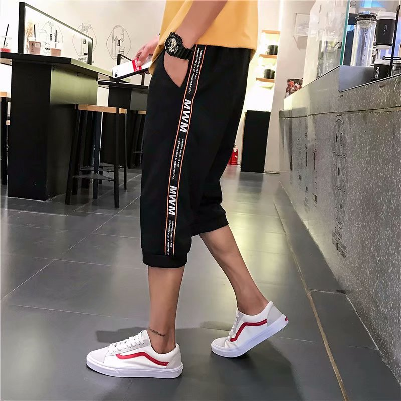 Summer Cool Side Stripes Sports Capri Pants Men'S Wear INS Loose-Fit Beam Leg With Drawstring Shorts Simple Shorts