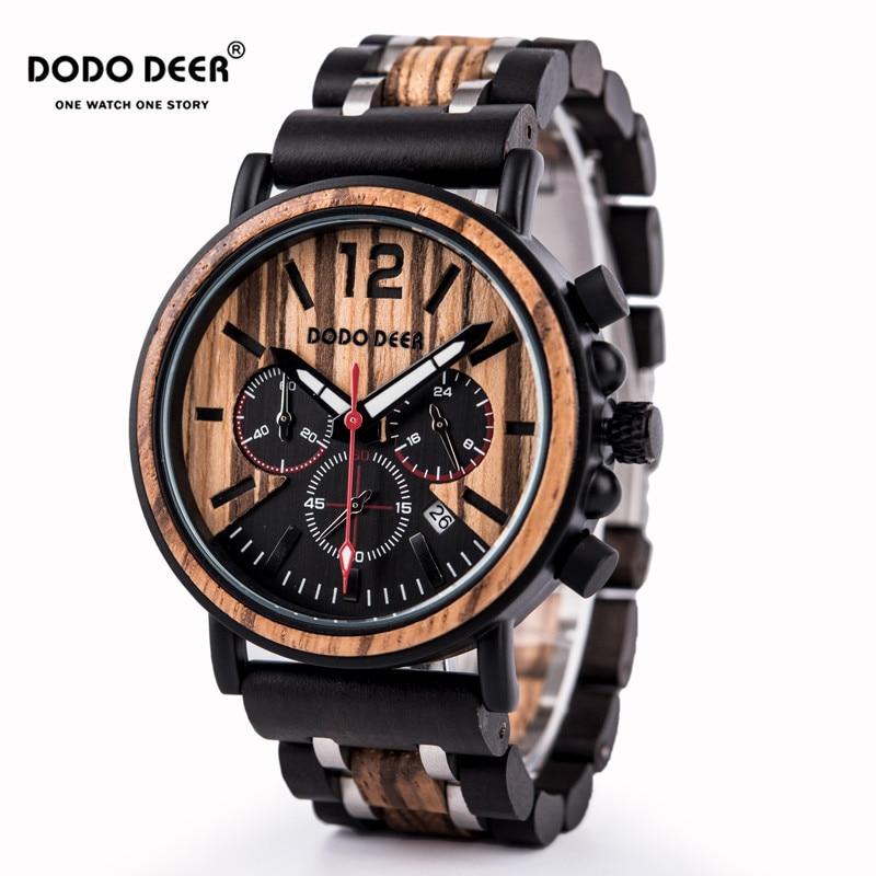 DODO DEER Luxury Wood Stainless Steel Men Watch Stylish Wooden Timepieces Chronograph Quartz Watches relogio masculino OEM C15