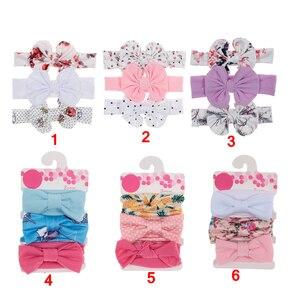 Yundfly/комплект из 3 предметов упак. хлопковая повязка на голову с узлом для маленьких девочек; Детский обруч для волос