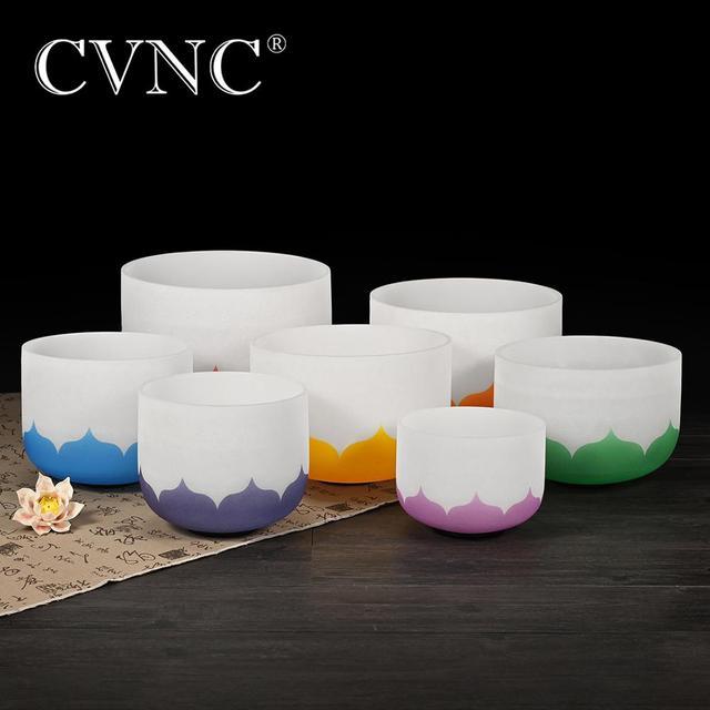 "CVNCชุด7 Pcs 6 "" 12"" หมายเหตุCDEFGAB Lotus Chakra Design Frostedคริสตัลควอตซ์ร้องเพลงชาม"