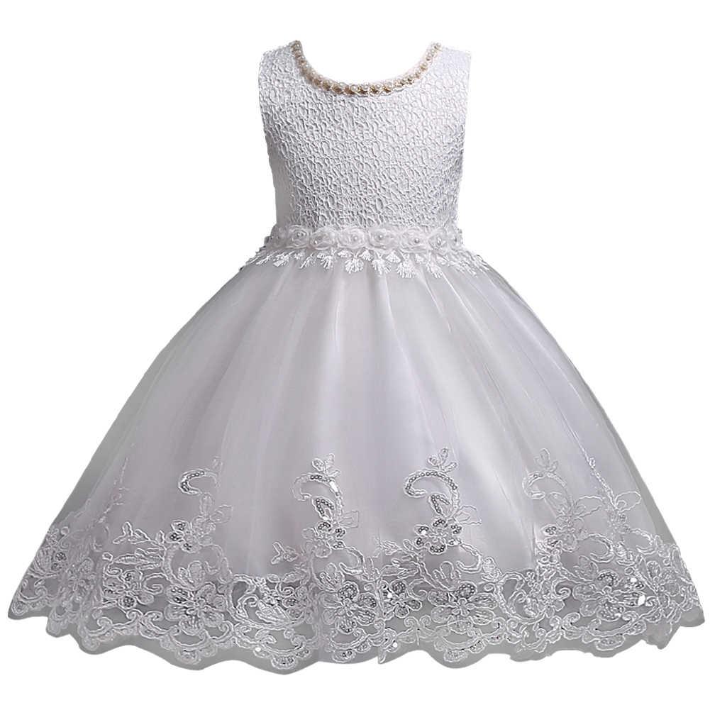 Güzel Dantel Aplikler Boncuklu Çiçek Kız Elbise Çocuklar Akşam Önlük Düğün için Ilk Cemaat Elbiseler Vestido Comunion 2-10Yrs