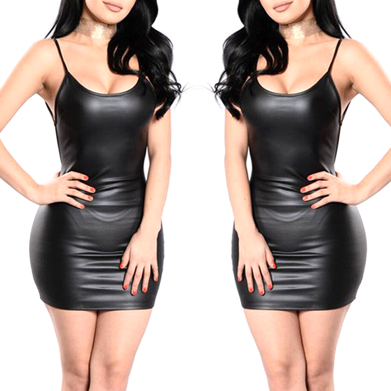 Sexy Faux Leather Backless Club Party Short Bodycon Dress - dresses