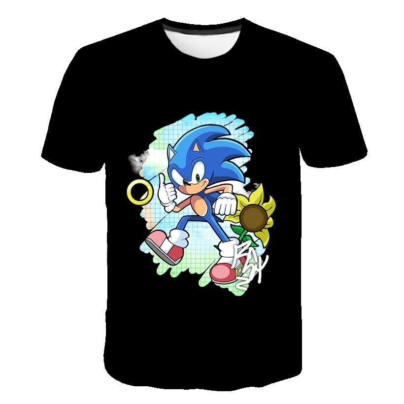 Funny T Shirts 2020 3D Cute Children Cartoon T Shirt Kids Clothes Print Sonic The Hedgehog T-shirt Boys Streetwear Tops Summer