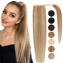 MRSHAIR Real Natural Human Hair Pony Tail Hair Extension Blonde Hair Wrap Ponytail Clip In Hairextensions