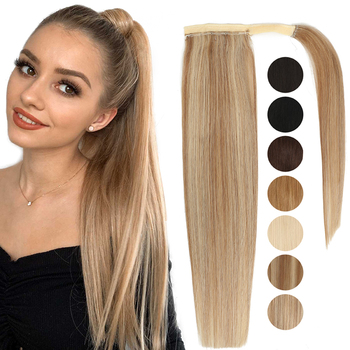 MRSHAIR Real Natural Human Hair Pony Tail Hair Extension Blonde Hair Wrap Ponytail Clip In Hairextensions Machine Remy Hairpiece